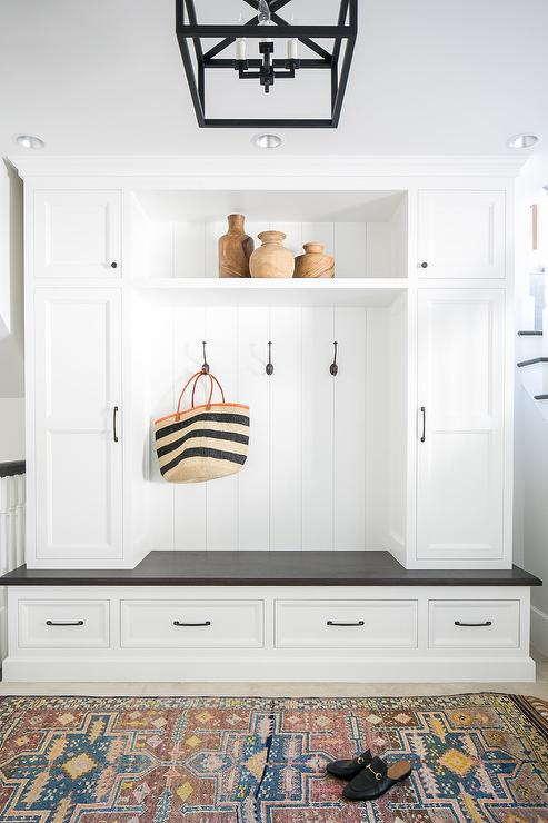 White Mudroom With White And Blue Striped Runner Transitional Laundry Room