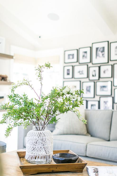Fabulous Black And White Photo Wall Behind Gray Sofa Transitional Machost Co Dining Chair Design Ideas Machostcouk