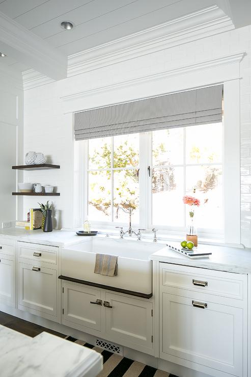 Shiplap Trim Over Farmhouse Sink Transitional Kitchen