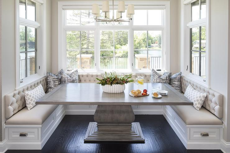 Kitchen With Gray Tufted Dining Banquette Transitional