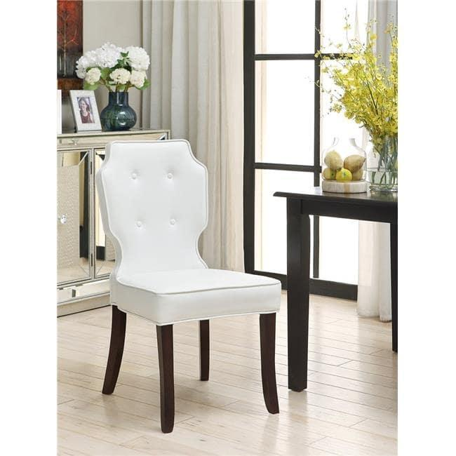 Tremendous Star White Leather Button Tufted Black Legs Dining Chair Beatyapartments Chair Design Images Beatyapartmentscom