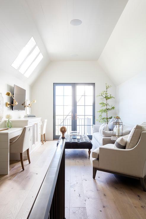 superb living room in home attic design | Sconces Flanking Tv Design Ideas