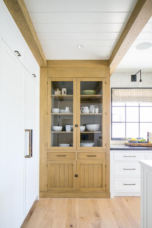 Caramel Stained Oak China Cabinet with Glass Doors - Cottage ...