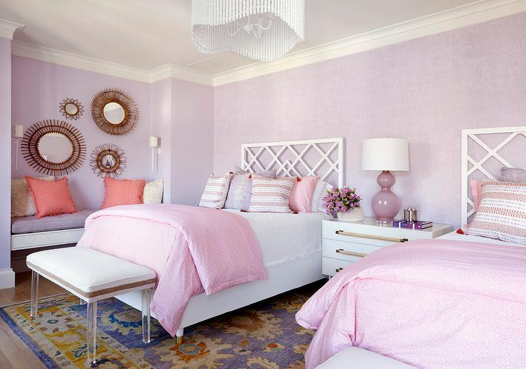 Lavender And Lilac Shared Girlsu0027 Bedroom Features Matching Beds Fitted With  White Trellis Headboard And Complemented With Pink Bedding Topped With  Purple ...