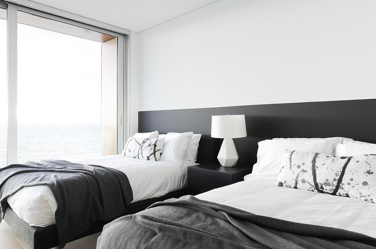 Long Black Headboard With Two Twin Beds Transitional Bedroom