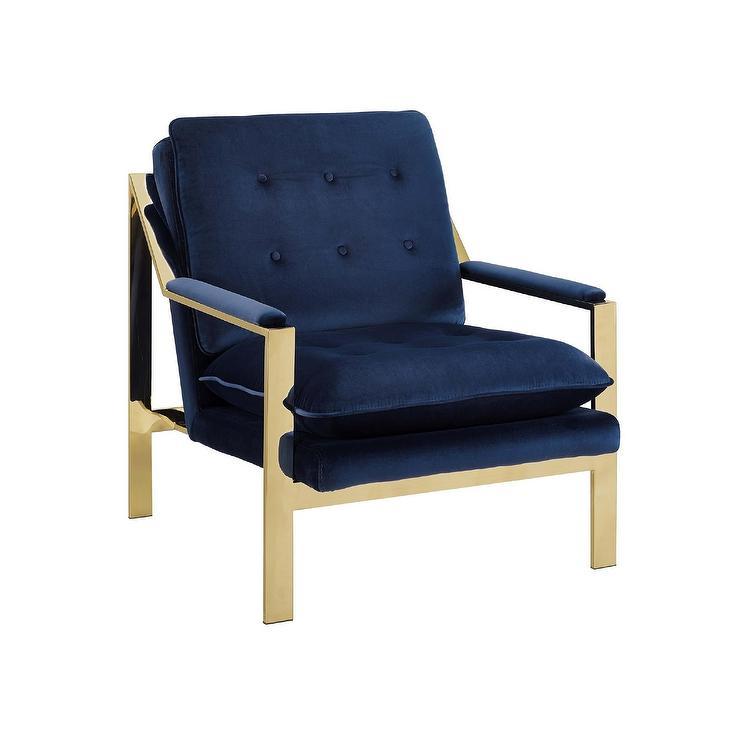 Awe Inspiring Tribeca Navy Velvet Tufted Brass Arm Chair Pdpeps Interior Chair Design Pdpepsorg