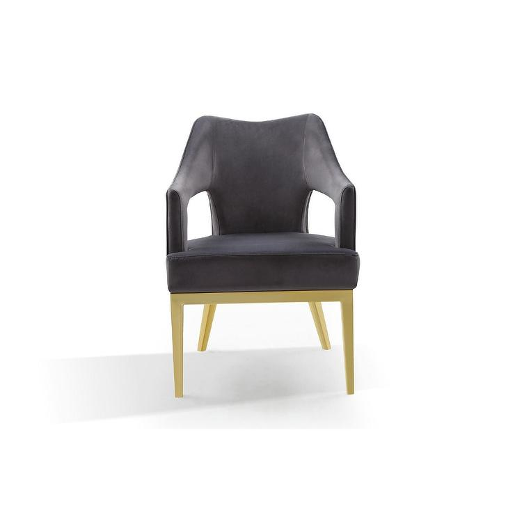 Astonishing Danu Curved Dark Gray Velvet Gold Accent Chair Gmtry Best Dining Table And Chair Ideas Images Gmtryco