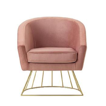 Isadora Blush Leather Acrylic Accent Chair