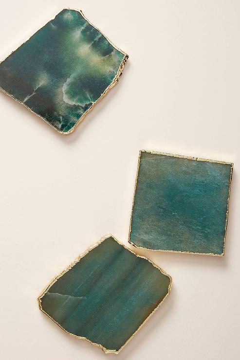 Square Green Agate Gold Edge Coaster