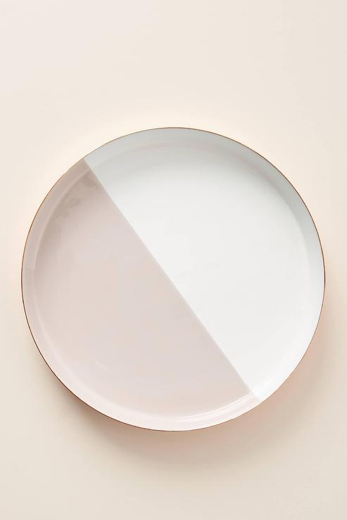 Project 62 Large Round White Copper Enamel Tray