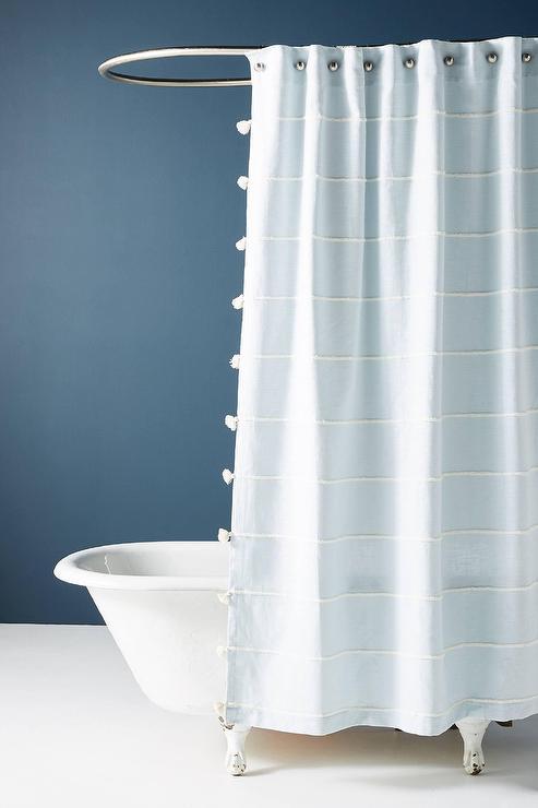 Sela Sky Blue Striped Tasseled Shower Curtain