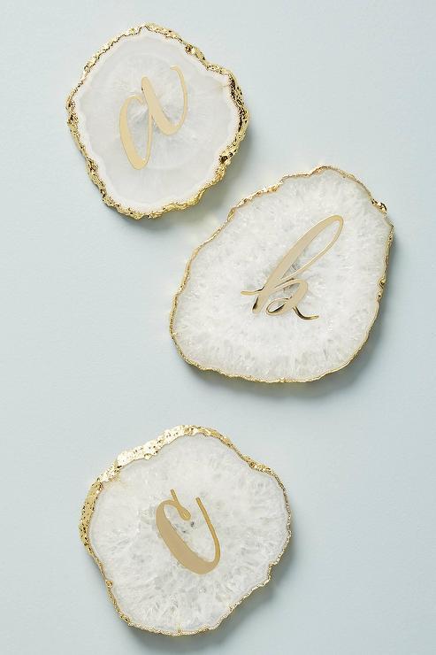 White /& Gold Leaf Resin Agate Coasters Topaz