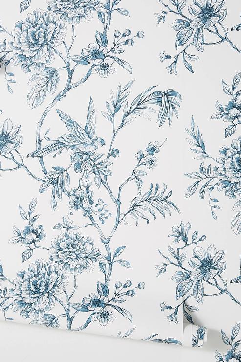 Trail Navy Floral Pattern White Wallpaper