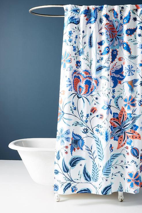 Ria Blue Floral Medallions Shower Curtain
