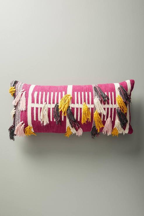 Nate Berkus Decorative Woven Beige Side Fringe Pillow