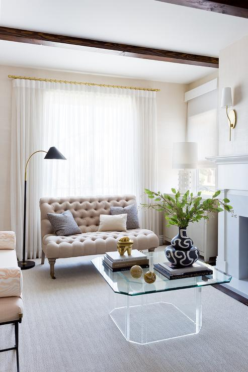 Mirrored Coffee Table With Gold Trim Transitional