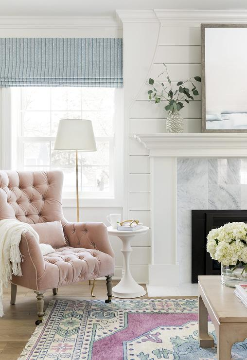 Blush Pink Velvet Tufted Chair With White Fringe Throw