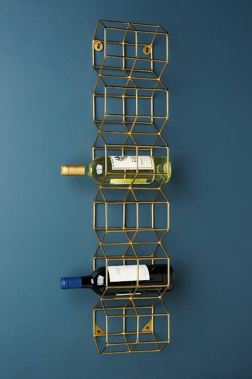 Thea Geometric Brass Wire Wall Mounted Wine Rack