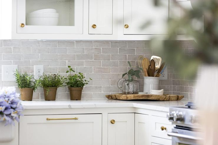Gray Brick Pattern Kitchen Tiles With White Grout Transitional Kitchen
