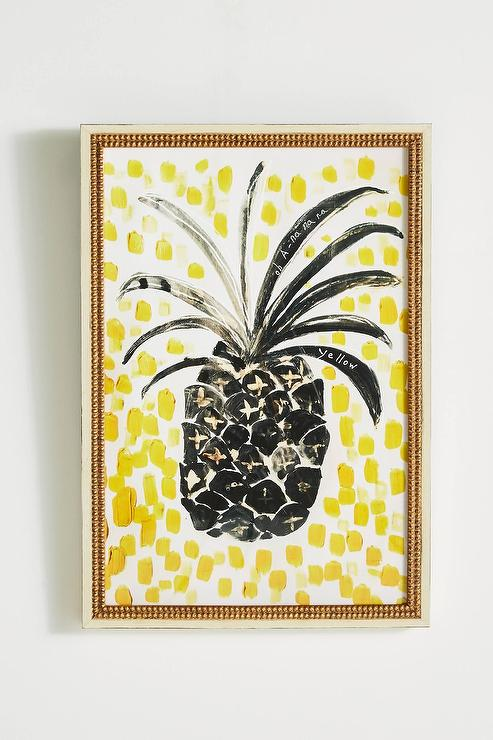 Pineapple Yellow Dotted Gold Frame Wall Art