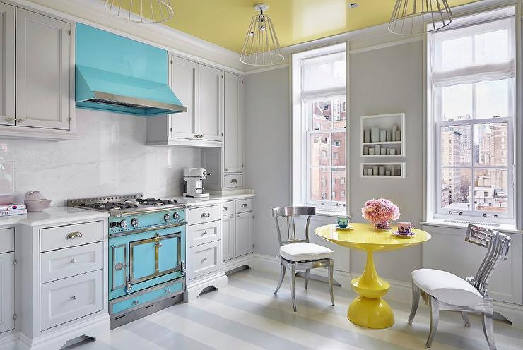 awesome turquoise kitchen cabinets dining | Pale Blue Kitchen with Vaulted Shiplap Kitchen Ceiling ...