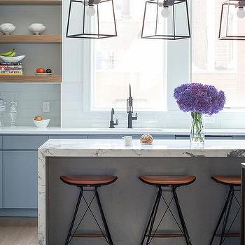 White Flat Front Cabinets With Light Gray Quartz