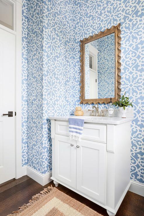 White Powder Room With Thibaut Allison Wallpaper Transitional