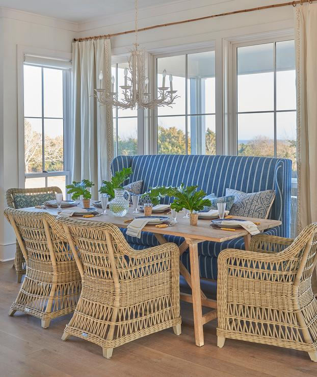 Trestle Dining Table With Blue Stripe Wingback Settee Cottage Dining Room
