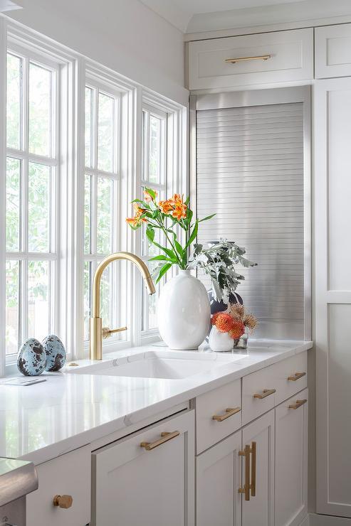 Aluminum Garage Style Door On Small Kitchen Appliances Cabinet Transitional Kitchen