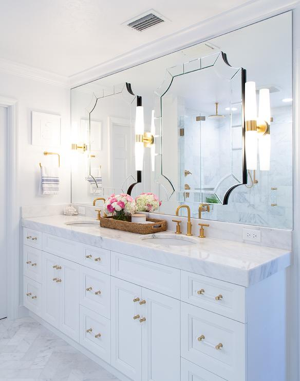 Art Deco Mirrors On Bathroom Vanity Mirror Transitional Bathroom