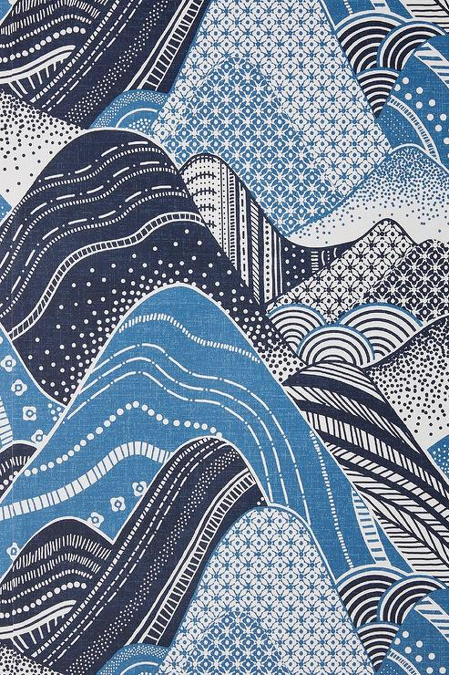 Meru Mountain Blue Black Waves Wallpaper