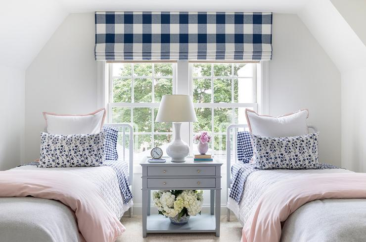 White Twin Beds With Gray Nightstand Transitional Girl S