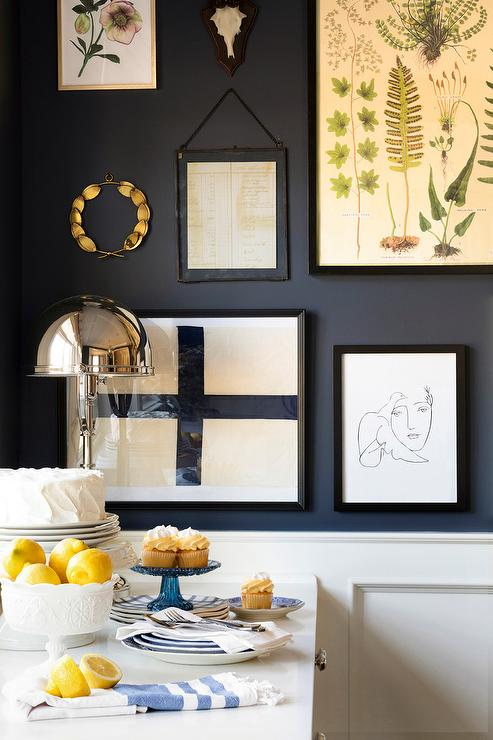 Black Wall With Eclectic Art Gallery