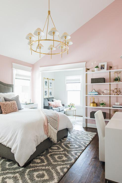 Pink and Gray Girls Room with Gray Bed - Transitional - Bedroom
