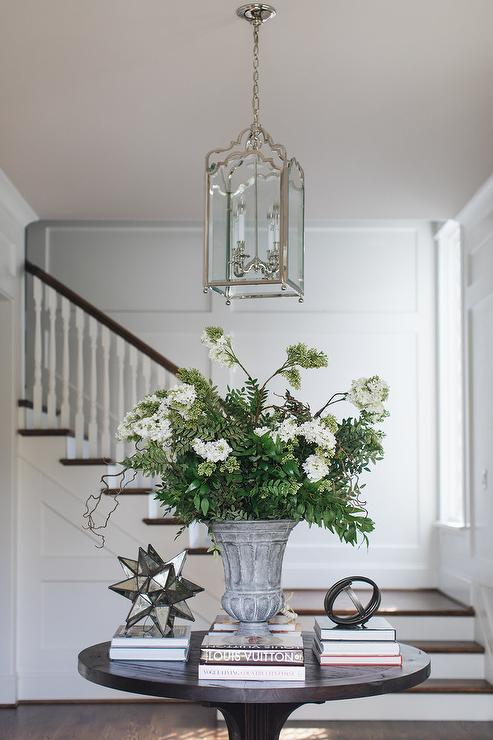 Round Foyer Table With Lantern Transitional Entrance Foyer