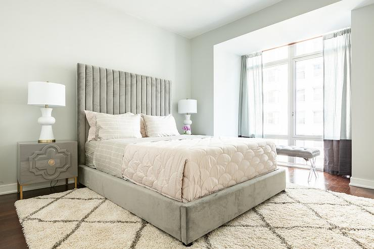 Gray Velvet Bed With Gray Nightstands Contemporary Bedroom