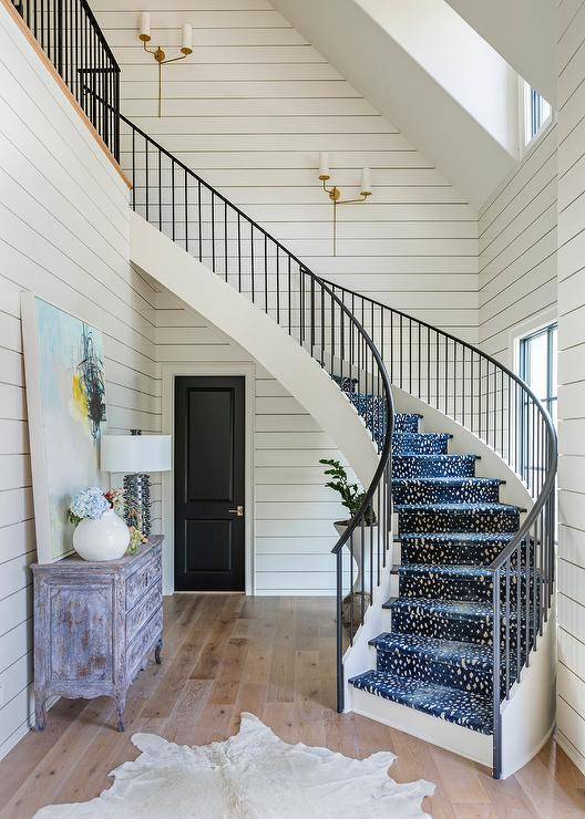 Blue Antelope Staircase Runner On Winding Staircase Transitional Entrance Foyer