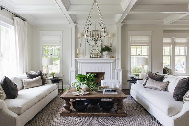 White Sofas with Dark Gray Velvet Pillows - Transitional ...