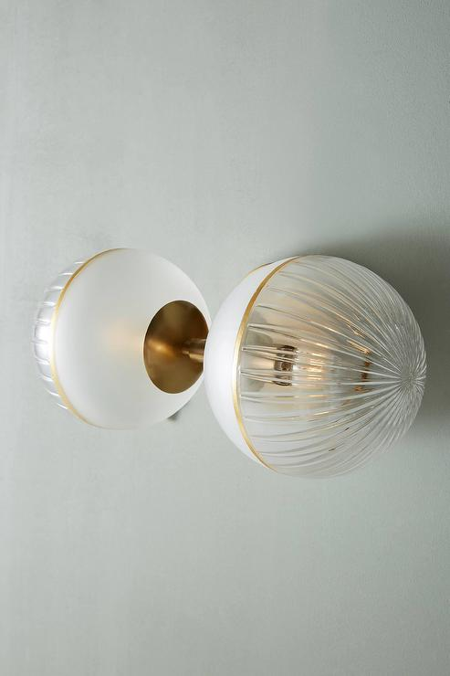 a3a62c13af2c Laney Frosted Glass Brass Double Sconce
