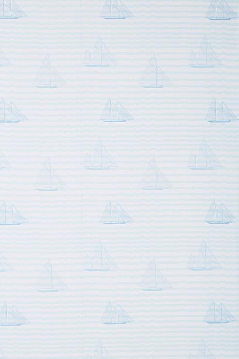 Sailboat Light Blue Striped Wallpaper