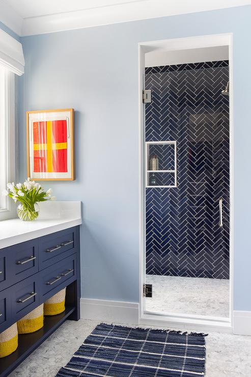 Cobalt Blue Chevron Wall Tiles With Porthole Mirror