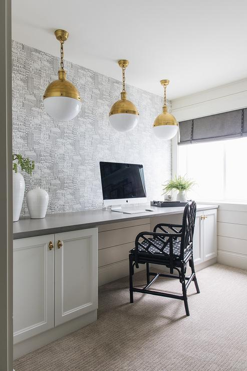 Shiplap Home Office With Black And White Drum Pendants