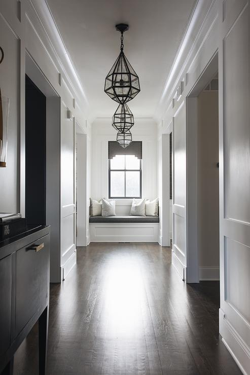 Awe Inspiring Longhallway With White Wall Trim And Dark Stained Wood Short Links Chair Design For Home Short Linksinfo