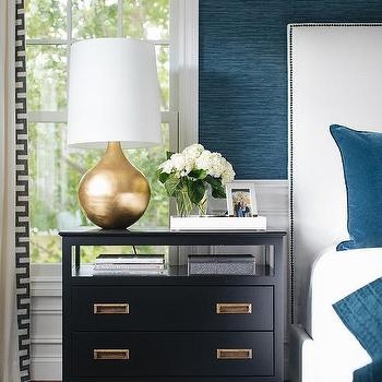 Lamps living room lighting ideas dunkleblaues Hague Blue White Bed With Black Campaign Nightstand Decorpad Peacock Blue Walls Contemporary Bedroom Haus Interior
