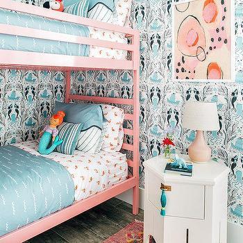 Pink Textured Girls Bedroom Wallpaper Design Ideas
