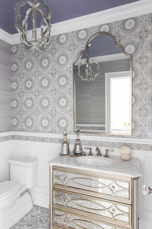 Silver Bathroom Wallpaper Design Ideas