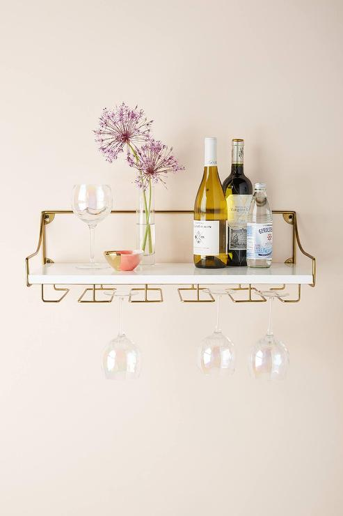 White And Brass Olivia Wall Mounted Shelves