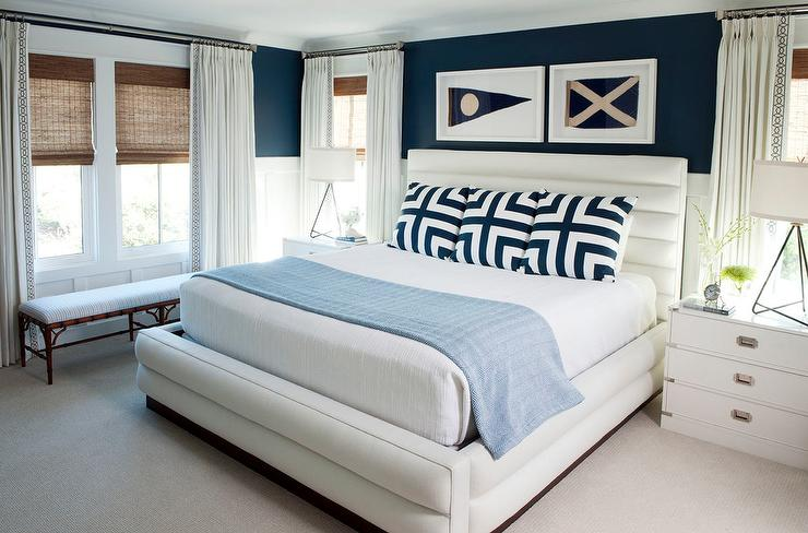 White and Navy Blue Bedroom with Wainscoting - Cottage - Bedroom