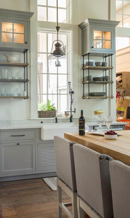 Gray Kitchen Cabinets With Wood And Iron French Shelving Cottage Kitchen