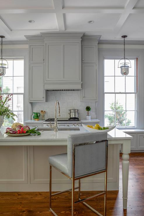 Cream Painted Kitchen Island With Gray Stools Transitional Kitchen